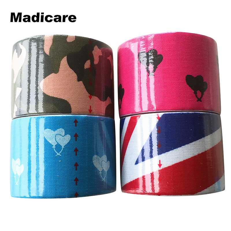 Printed Kinesiology Tape Camo 5cmx5m Rock Solid,Waterproof Flexible Athletic Tape Sports Volleyball Gold Breathable Super Sticky