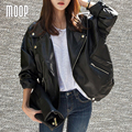 Spring fashion oversize black genuine leather jackets sheepskin leather jacket coat veste en cuir femme jaqueta de couro LT1192
