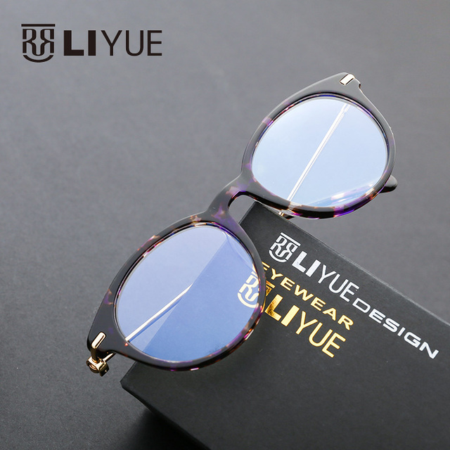 b98ba326652c clear frame round glasses fashion prescription eyewear frames acetate  optical frames myopia spectacles women computer glasses