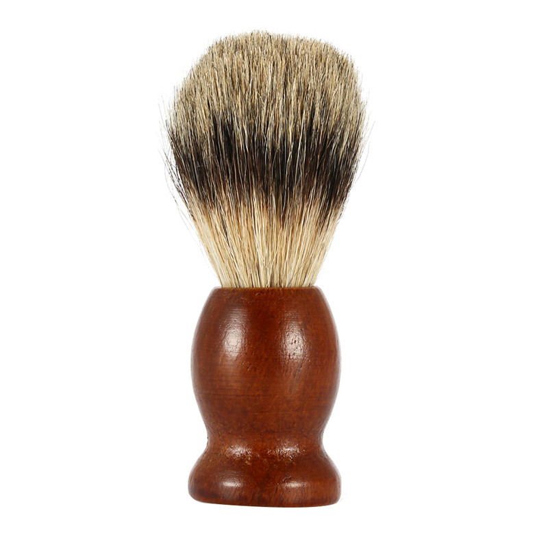 1pc Badger Hair Beard Brush Dark Brown Wood Shaving Brush Natural Wood Beard Cleaning ToolsHK60