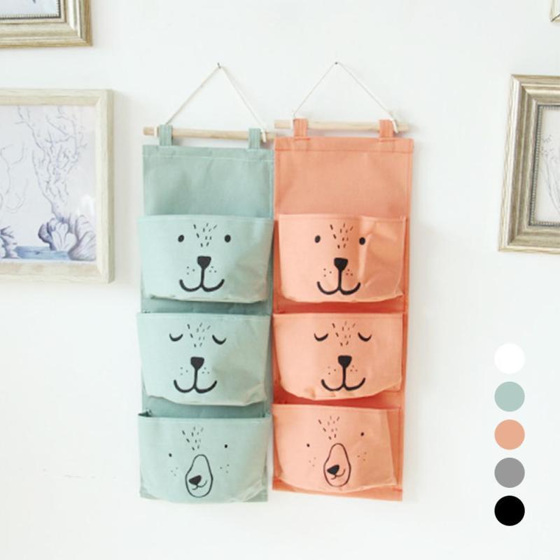 1pc New Hot Storage Bag Cartoon Bear Pattern Cotton Linen Bags Kid Waterproof 3 Pockets Organization Home Wall Hanging Type A35