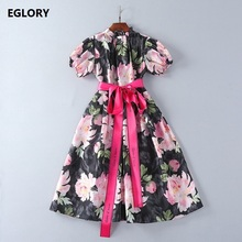 Jewlery Button Dress New 2018 Spring Summer Floral Dress Women Ruffled Collar Short Sleeve Midi Ball Gown Dress With Ribbon Belt