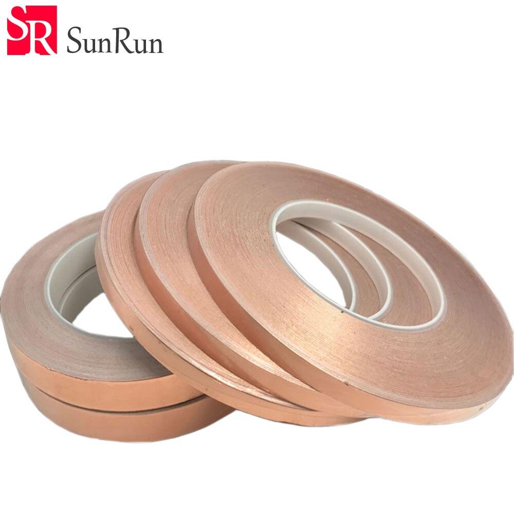 1 Roll 30M Single Adhesive Conductive Copper Foil Tape EMI Shield Copper Strip Free Shipping hot sale new 2 roll 5mm x 30m single conductive copper foil tape adhesive