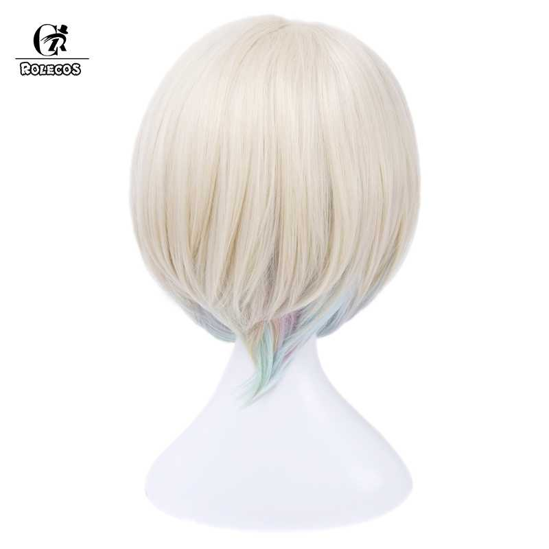 ROLECOS LOL Luxanna Crownguard Cosplay Şapkalar Oyunu Cosplay Saç Kısa Beyaz Karışık Kadın Sentetik Saç 30 cm/11.82 inç