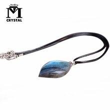 Doğal düzensiz kristal taş labradorit kolye aytaşı Sunstone kolye kehanet manevi meditasyon takı kolye