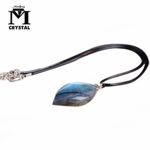 Natural irregular crystal stone Labradorite pendant Moonstone Sunstone Pendant Divination spiritual meditation Jewelry Necklace