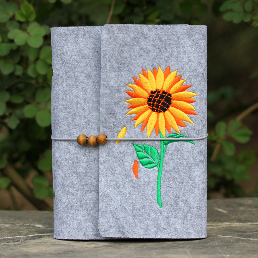 Brand New Felt Material Embroidery Sunflower Beautiful Diary Notebook Journal and Travel Writing Tools Gifts
