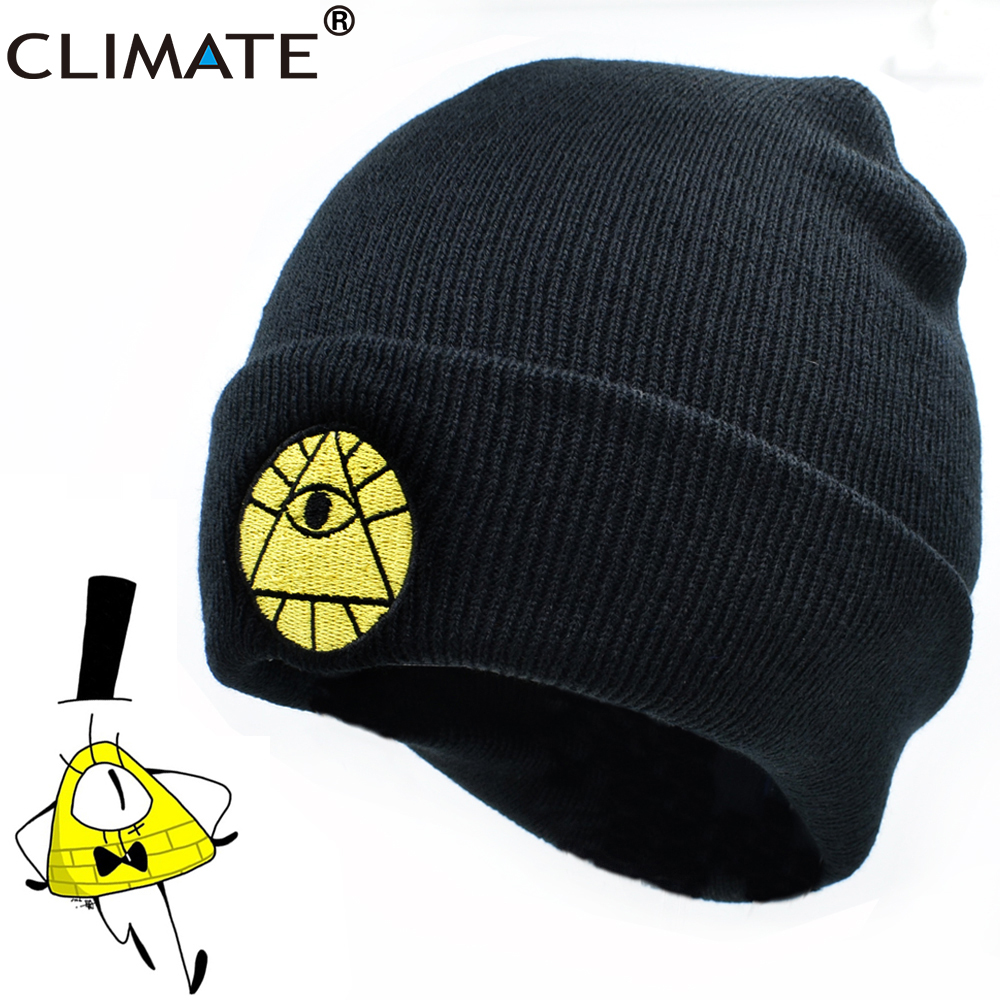 CLIMATE Cartoon Hat Caps Bill Dipper Mabel Beanie Winter Warm Knit Beanie Hat Boy Bill Black Cool Men Acrylic Knit Hat