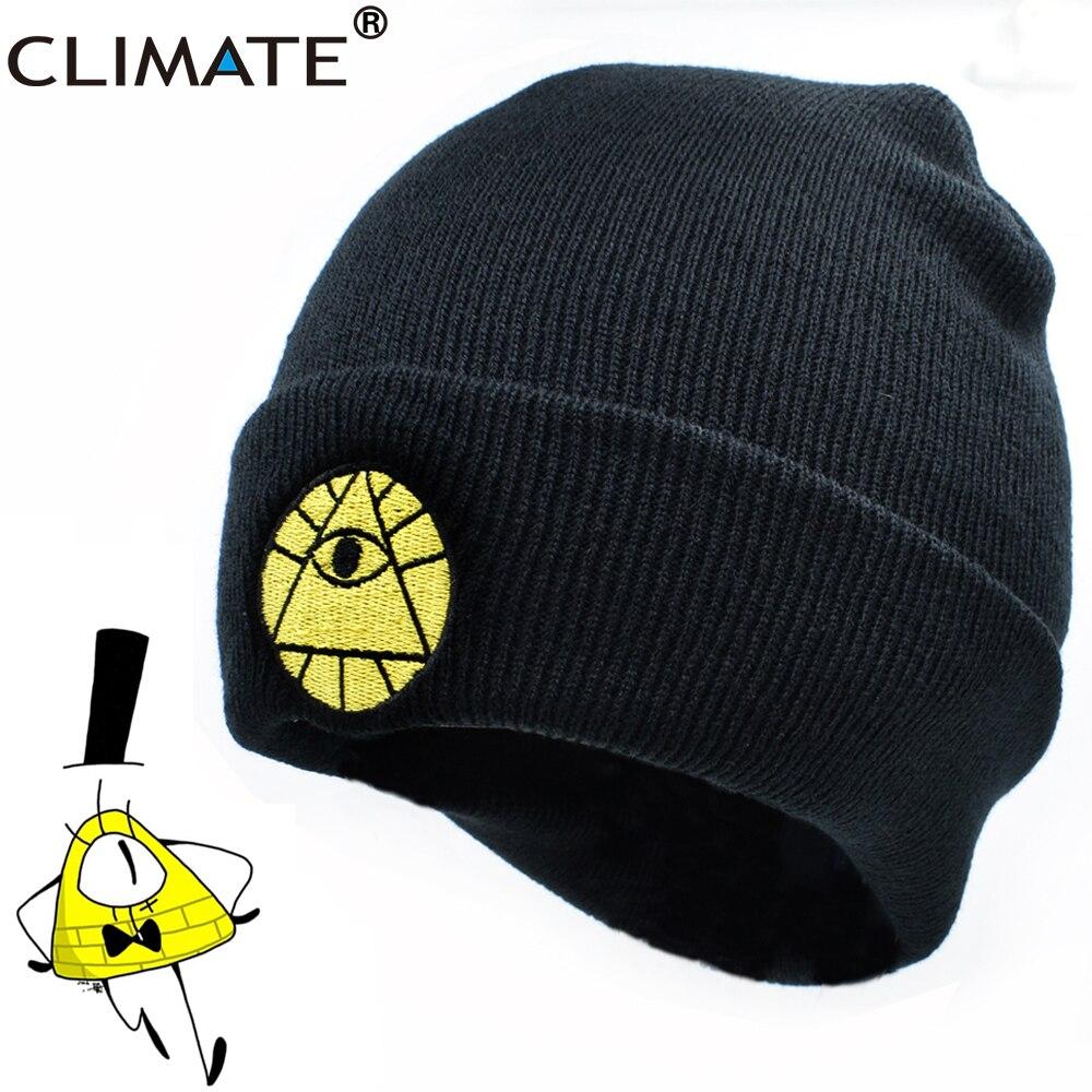 CLIMATE Gravity Falls Hat Caps Bill Dipper Mabel Beanie Winter Warm Knit Beanie Hat Boy Bill Black Cool Men Acrylic Knit Hat