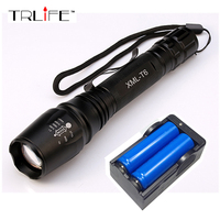 6000LM Torcia CREE XM-L T6 LED Zoomable di Messa A Fuoco Torcia Torch Light + 2x18650 Battery + US/EU caricatore