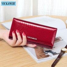 VICKAWEB długi portfel portfel ze skóry naturalnej kobiety torebka solidna torebka damska Hasp portfele i portmonetki damskie Casual portfel nowy