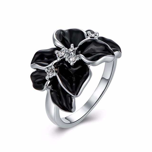 fashion silver color enamel and crystal flower wedding ringfashion fairy ring for girls - Flower Wedding Rings