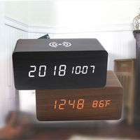 Wooden Alarm Clock With Bluetooth Speaker Voice Control LED Digital Clock Wireless Charging Phone Wood Temperature Table Clocks