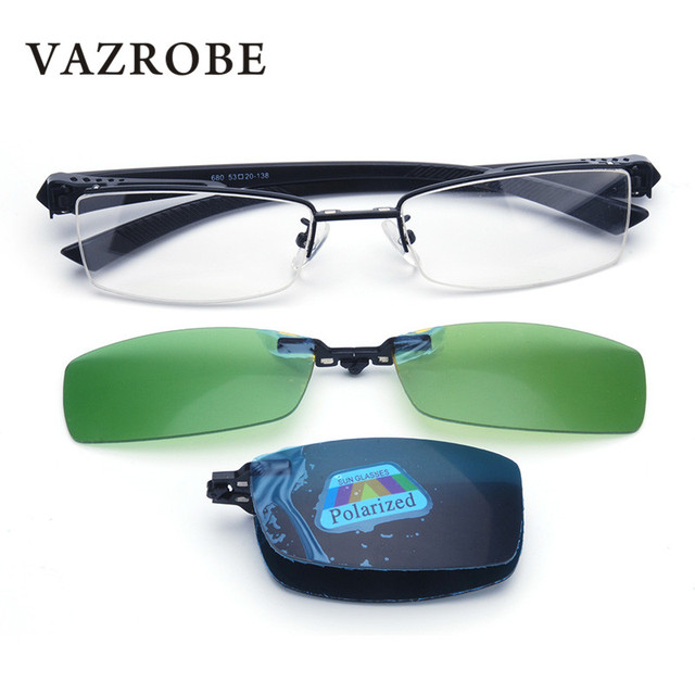 b70f47dc27c Vazrobe Clip on Sunglasses Men Polarized Sun Glasses for Male Night Driving  Foldable Lens Titanium fit