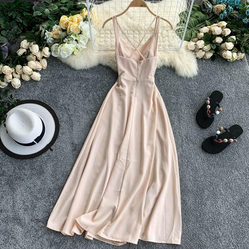 Женское пляжное платье OCEANLOVE, однотонное длинное платье на молнии с открытой спинкой, а-силуэта, без рукавов, 11852, 2020