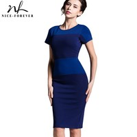 Women S Vintage Hot Selling European Style Back Zipper Short Sleeved Stripe Splicing Pencil Bodycon Cocktail
