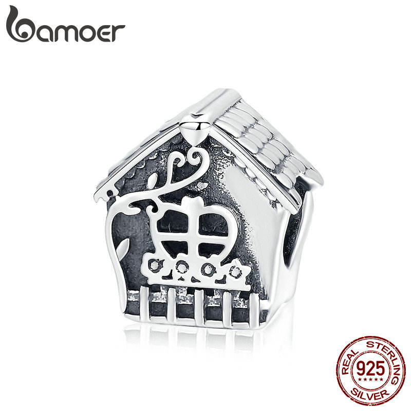 купить BAMOER Real 925 Sterling Silver Sweet Love House Home Charms Beads fit Women Silver Bracelets Bangles DIY Jewelry Making SCC889 в интернет-магазине