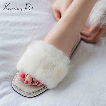 Krazing pot rabbit fur flat with natural skin women slides hollywood star peep toe sandals causal luxury outside slippers L88