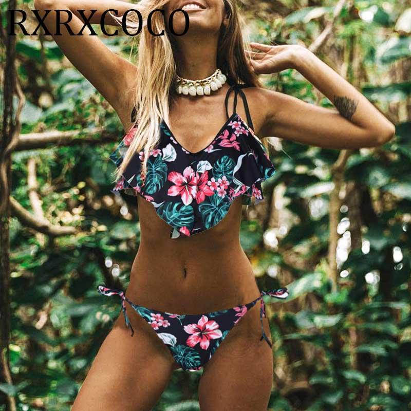 Retro Rüschen Bikini Badeanzug Bademode Frauen Bikini Set Push-Up V-ausschnitt Badeanzug Biquini Maillot De Bain Femme 2019 beachwear