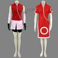 Athemis Naruto Haruno Sakura Cosplay Kostüm Kırmızı Lady Parti Elbiseler Cheongsam Orignal Siyah Bandı Hediye ile 2015 Sıcak Elbise