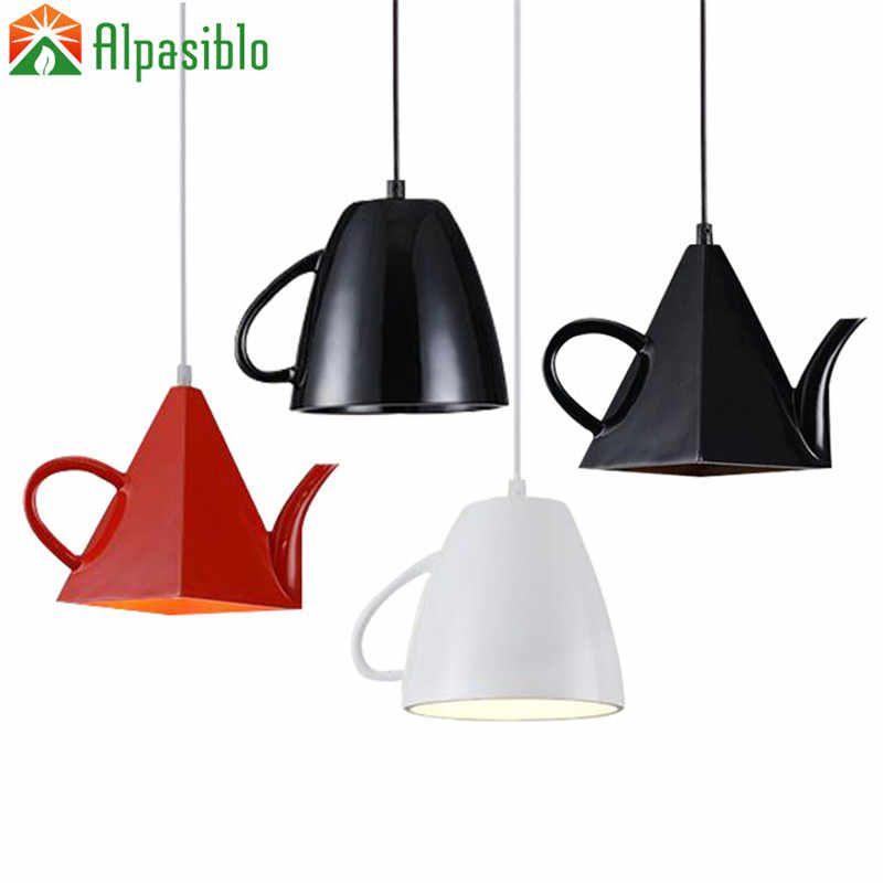 Современные смолы Чай горшок подвесные светильники Чай чашка подвесная панель освещения/кофе освещение E27 одна осветительная головка, белый/черный/красный