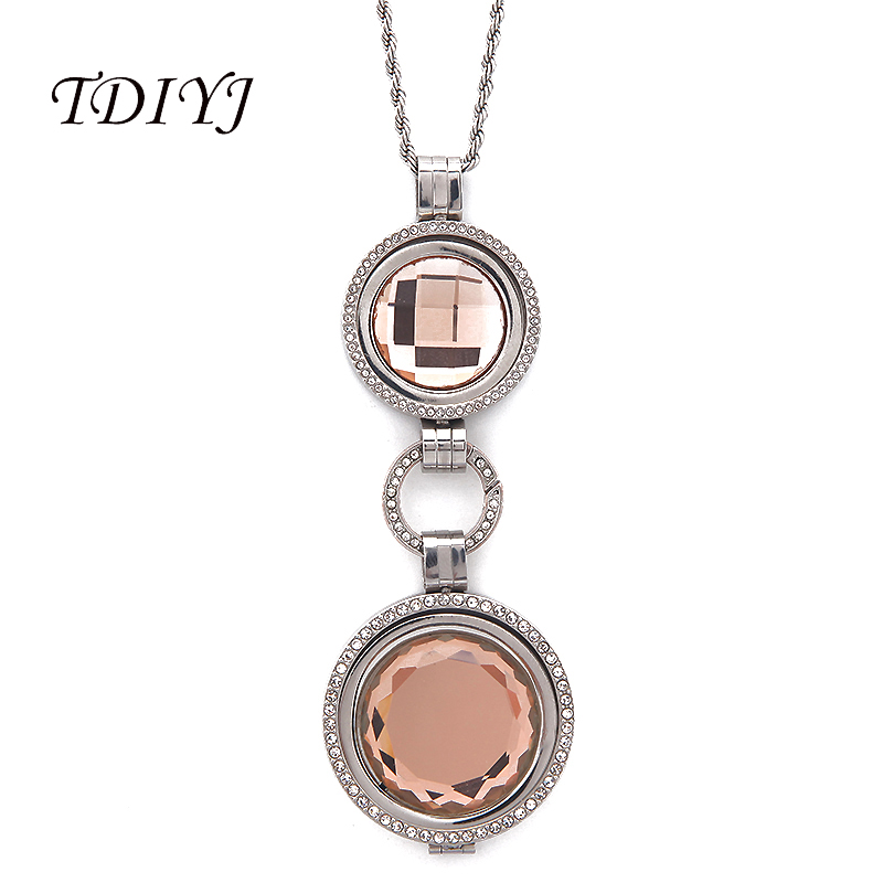 Interchangeable Disc Necklace: TDIYJ My Coin Jewelry 25MM/33MM Champagne Large Crystal