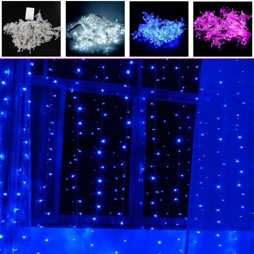 Curtain christmas lights - Rayway 3m 3m 300leds Lights Flashing Lane Led String Lamps Curtain Christmas Home Garden Festival