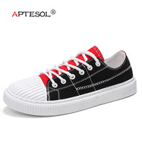 APTESOL Men Fashion Canvas Vulcanize Shoes Boy Lace Up Breathable Flat Shoes Comfortable Shockproof Daily Outdoor