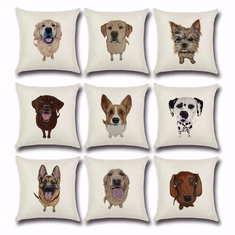 Scandinavian Dachshund Cushion Cover Cute Sausage Dog Pillow Case Bull Terrier Car Pillow Cover Almofadas De Luxo PC029