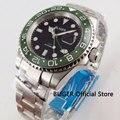 Solid BLIGER 40 мм черный циферблат Мужские часы сапфировое стекло керамический ободок функция GMT автоматическое движение часы мужские светящиес...