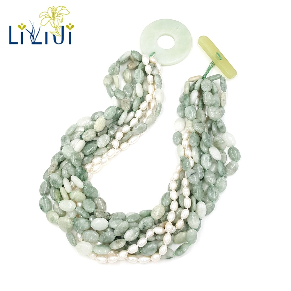 Lii Ji Natural Chinese Serpentine jade,Freshwater Pearl Beads 9 Rows With Big Jade Toggle Clasp Necklace