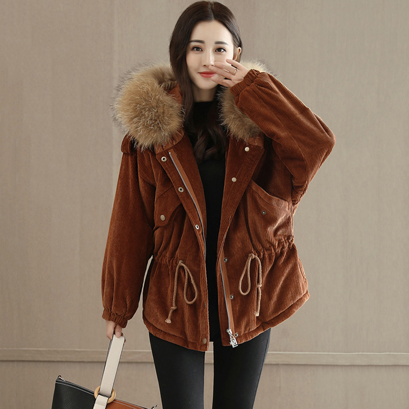 Women Corduroy Jacket Hoodies Natural Fur Collar Parka Winter Jacket