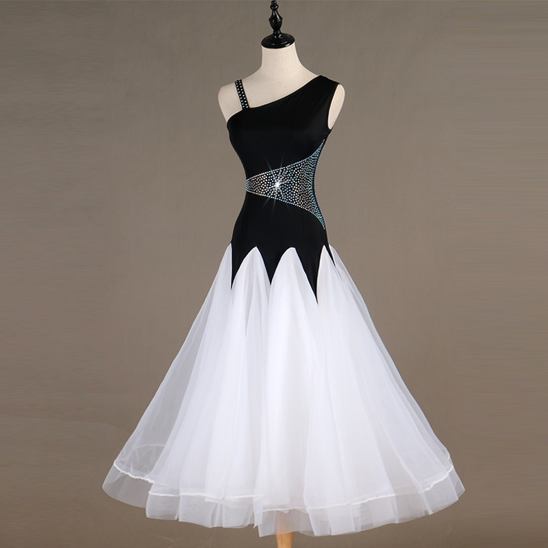 New Modern Ballroom Dance Dress Sparkly Diamond Black White Lace Skirt Women/Ladies/Female Waltz/Tango/Foxtrot Dress DQL257