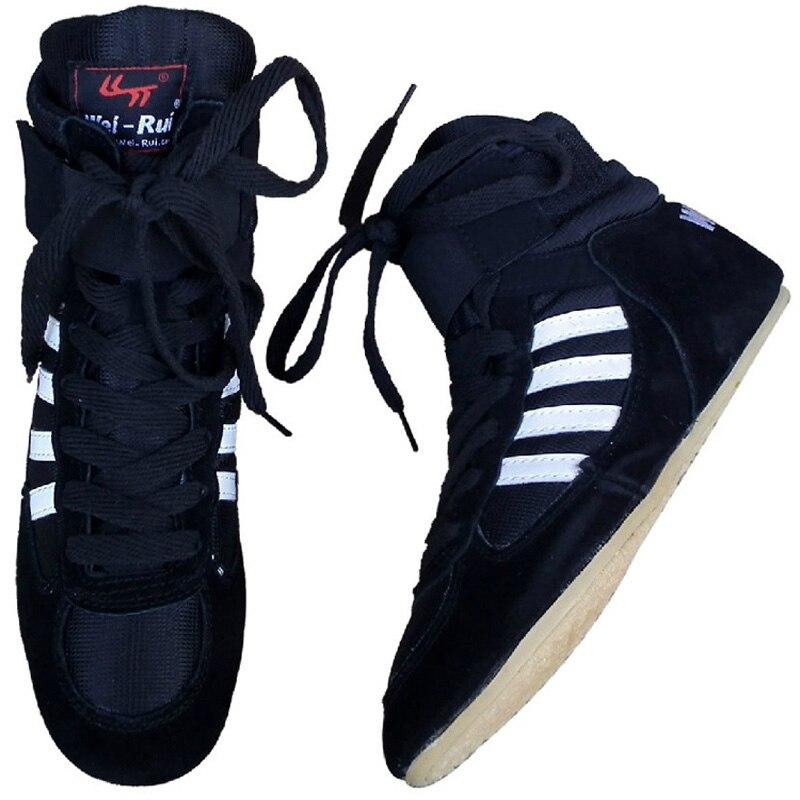 Couro touro dos homens Wrestling Sapatos de boxe sapatos sola de Borracha respirável pro engrenagem de wrestling para os homens e mulheres W0II boxeo