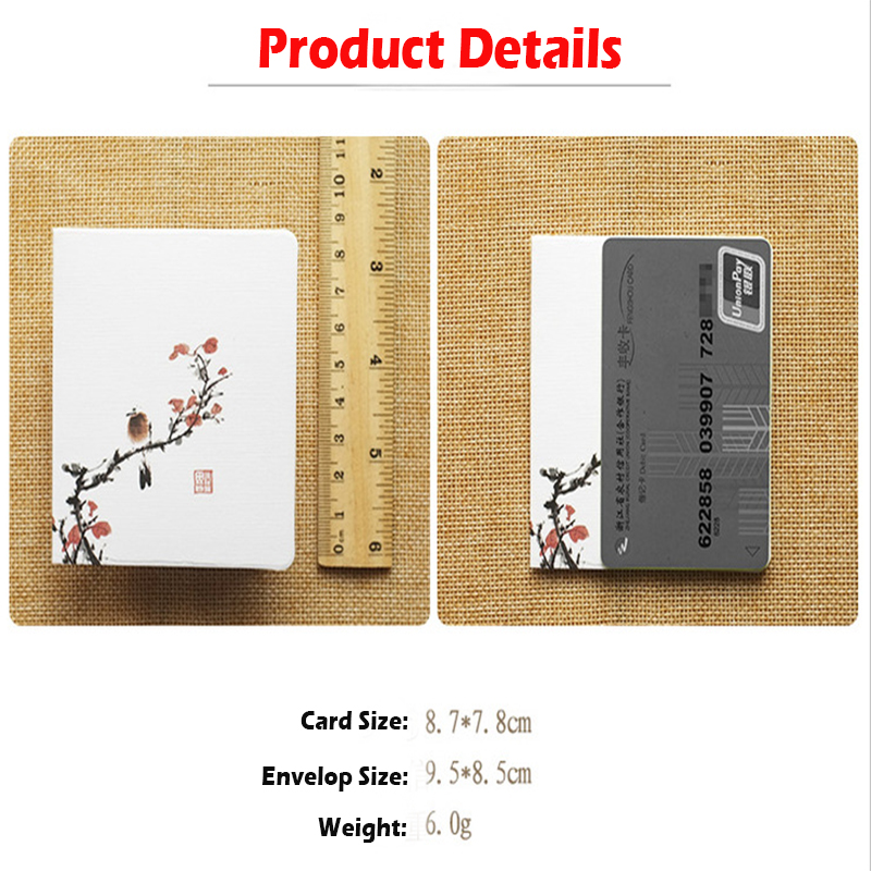 5pcs Beautiful Classic Chinese Fashion Style Greeting Cards Fresh Folder Blessing Cards Festival Gifts Simple Paper Card Envelop in Letter Pad Paper from Office School Supplies