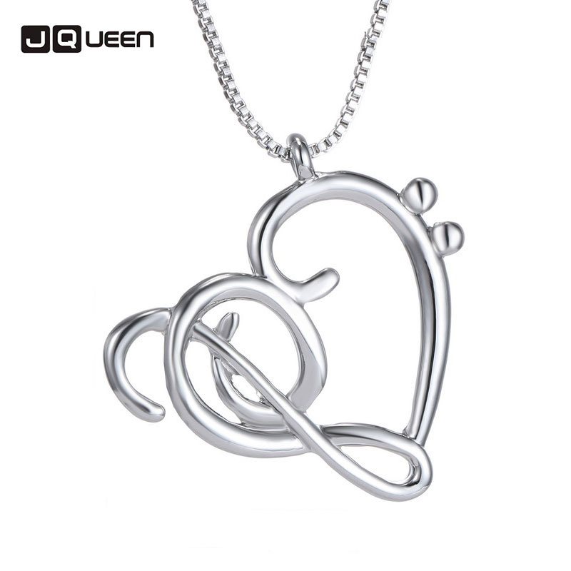 Hot Minimalist Simple Fashion Jewelry Hollow Heart Shaped Musical Note Pendant Necklace Music Jewelry Silver Special Gift
