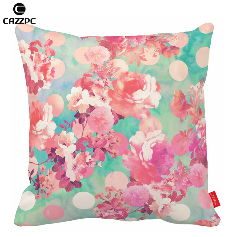 watercolor pink peony retro floral teal polka dots print decorative pillow cases back cushion covers home - Pink Decorative Pillows