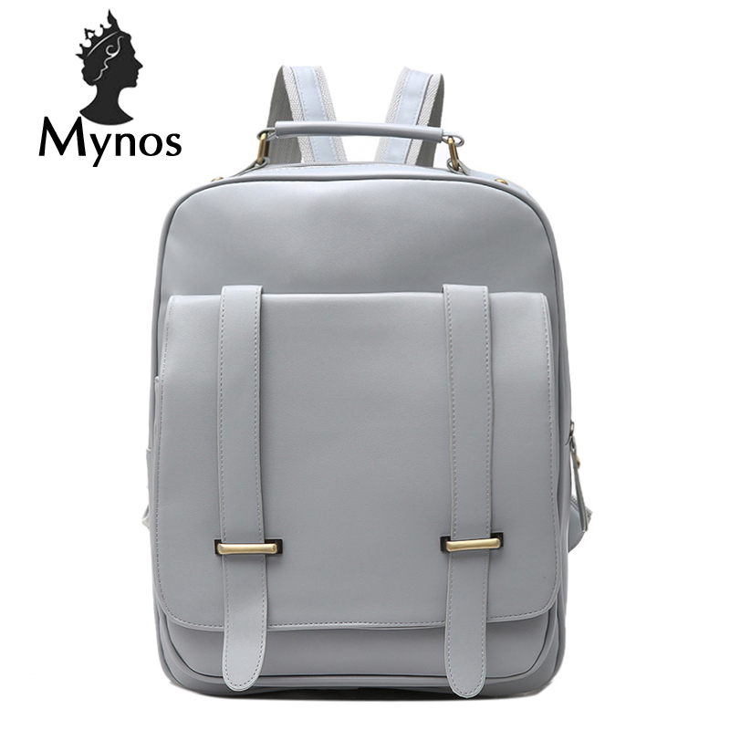 MYNOS Fashion School Backpack Leather Big Capacity Back Pack Bag For Women Mochila Escolar Backbag For Teenager Girl Women Bag fashion free shipping just hype pattern back to school backpack mochila batoh plecak