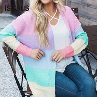 Isiksus Striped Rainbow Sweater Women Cardigan Long Sleeve Winter Autumn 2018 Female Knitted Loose Jumpers For Ladies SW031