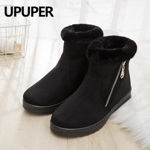 Image 1 - Zip kış kadın kar botları kaymaz kalın sıcak yarım çizmeler kadın moda orta yaşlı anne kış pamuklu ayakkabılar ucuz