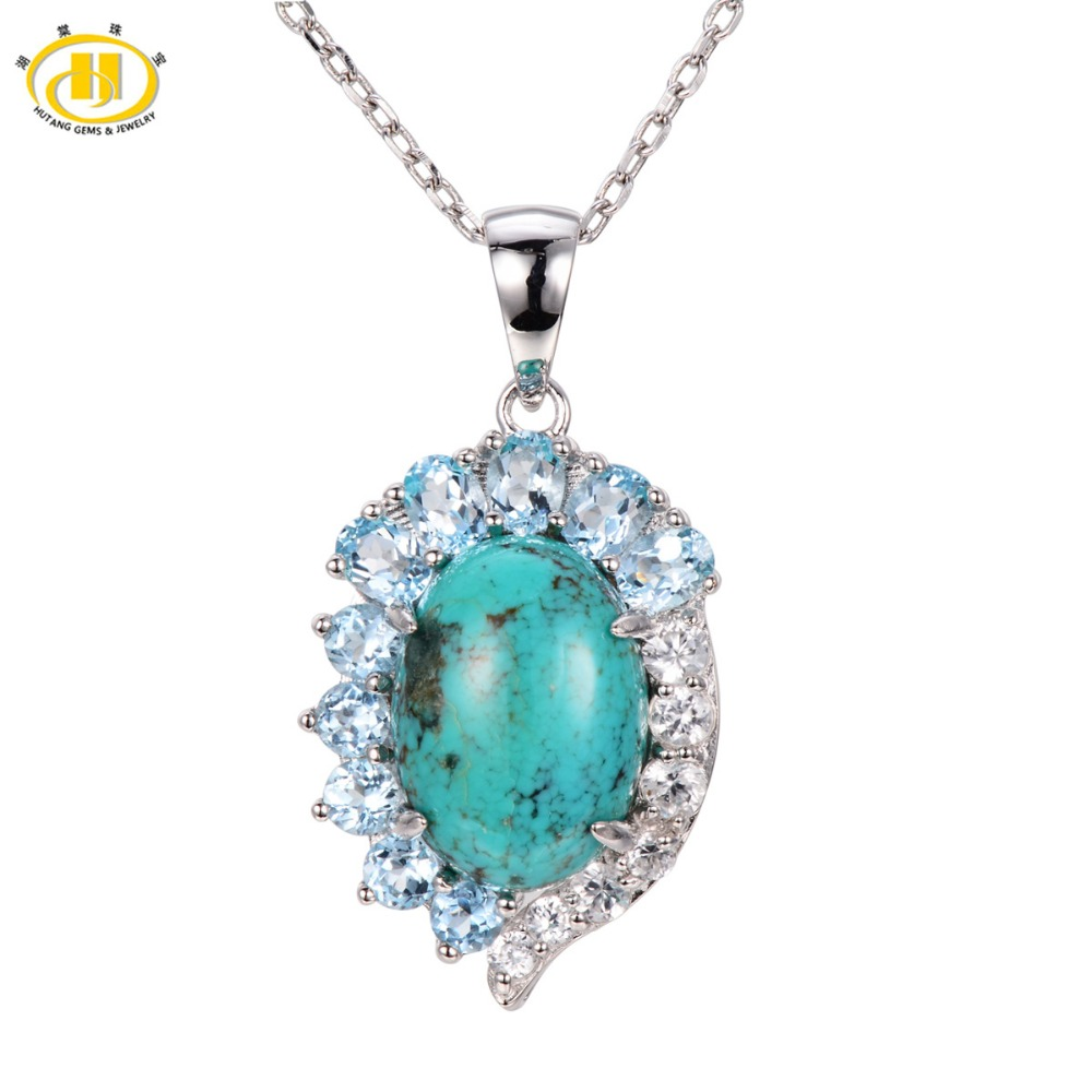 Hutang Stone Jewelry Natural Green Turquoise Blue Topaz Pendant Solid 925 Sterling Silver Necklace Fine Jewelry For Women Gift