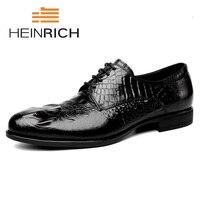 HEINRICH Formal Dress Men Shoes Genuine Leather Business Classic Office Wedding Elegant Mens Shoes Nette Heren Schoenen