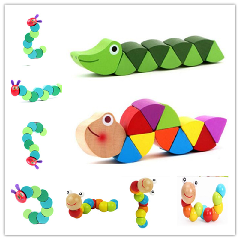 Montessori Toys Children Puzzle Early Educational Learning Wooden Toys Caterpillar Twist Insects Exercise Baby Fingers Flexible3
