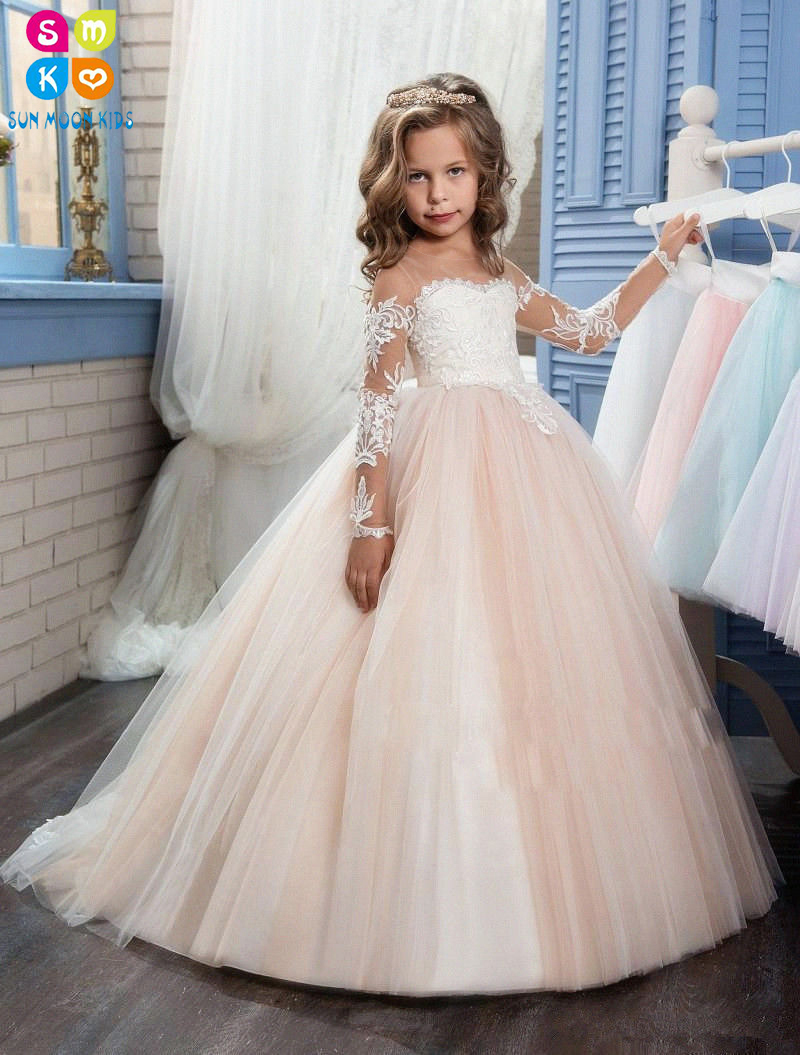 2018 Romantic Champagne Puffy Flower Girl Dress For Weddings Organza Ball Gown Girl Party First Communion Dress Pageant Gown 2017 new arrival 4t 8t girl party dress organza cotton lining kids pageant ball gown turquoise flower girl dresses for weddings