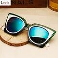 Top fashion 2017 vintage hipster cat eye sunglasses mujer de marca steampunk tan real gafas de sol occhiali da única gafas de sol gafas