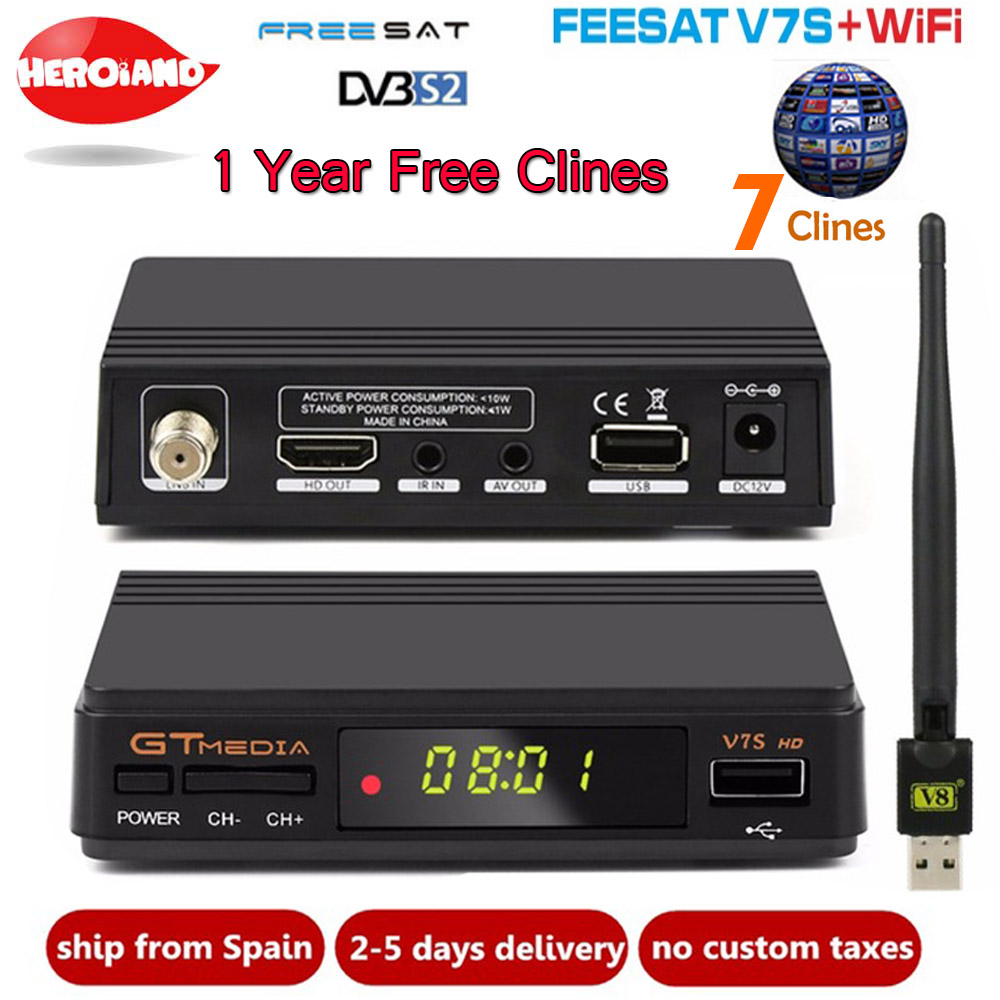 Freesat GTMEDIA V7S HD Satellite Receiver USB WIFI Cline 1 Year Europe Spain clines Upgrade From