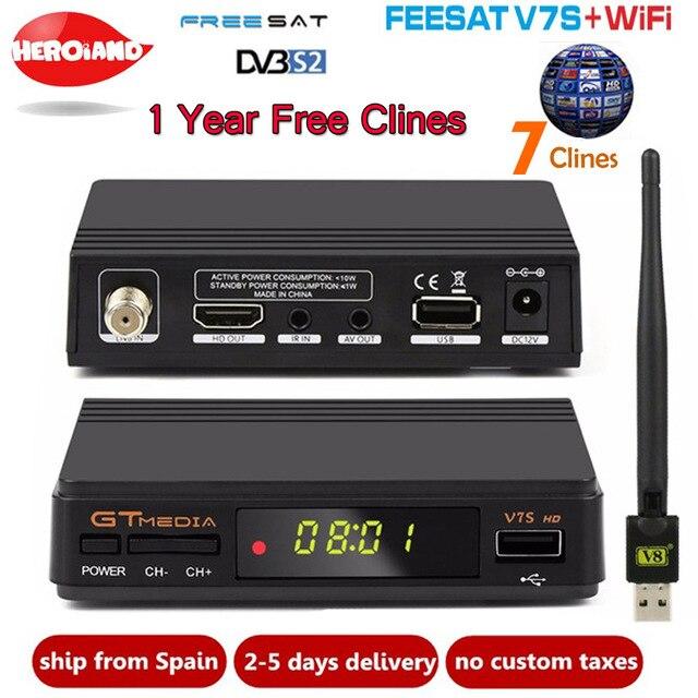 Freesat GTMEDIA V7S HD Satellite Receiver +USB WIFI +Cline 1 Year Europe Spain clines Upgrade From V7 HD DVB-S2 Digital Receptor