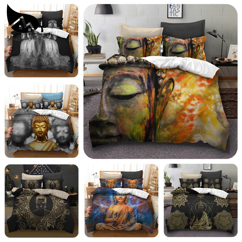 Dream NS 2/3PCS Bedding Set 100% Polyester Cotton Chinese Sacred Buddha Household Bedspread Kit Home Textile Finished Product