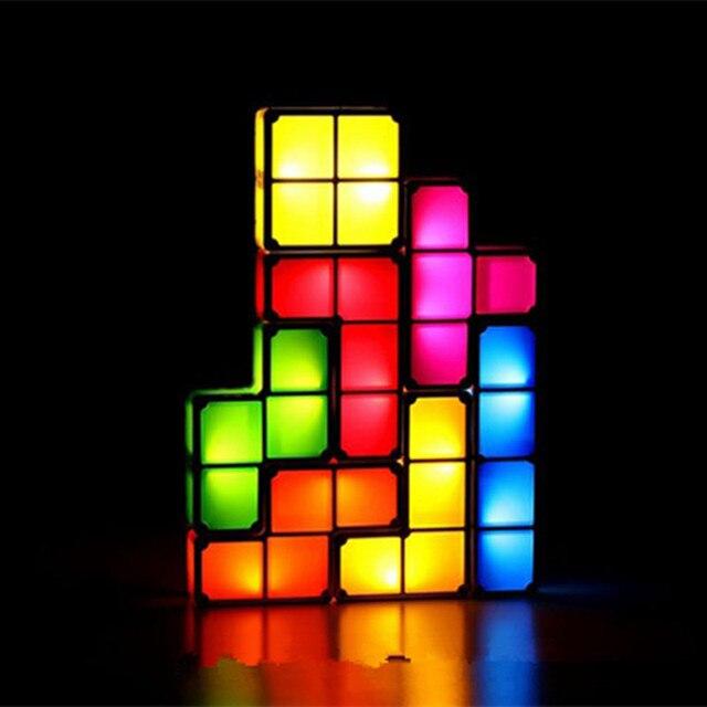 DIY Тетрис СВЕТОДИОДНЫЕ Лампы Light-Up Игрушки Блок Настольная Лампа Декоративные Лампы Красочный Свет Окно Ретро Стиль Игры собраны Модели