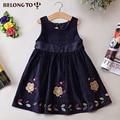 Детские осенние и зимние повседневная одежда Корейские девушки рукавов шею Вельвет маленькие цветы платья
